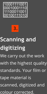 Scanning and digitizingWe carry out the work with the highest quality standards. Your film or tape material is scanned, digitized and colour corrected.    3.