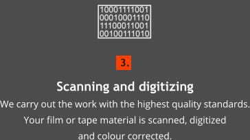 3. Scanning and digitizingWe carry out the work with the highest quality standards. Your film or tape material is scanned, digitized  and colour corrected.
